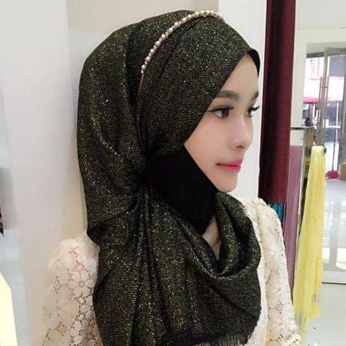 Hijab Scarf Fashion Gold Silk Cotton Female Long Scarf Folk Style (Brown)