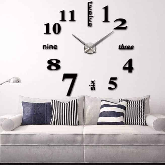 3d mirror diy wall sticker clock, size: 120*120cm (black) - blgt