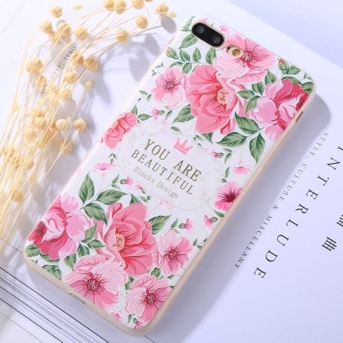 new style ffbf9 32119 Protective Case for iPhone 8 Plus & 7 Plus Embossment YOU ARE BEAUTIFUL  Peony Pattern Soft TPU