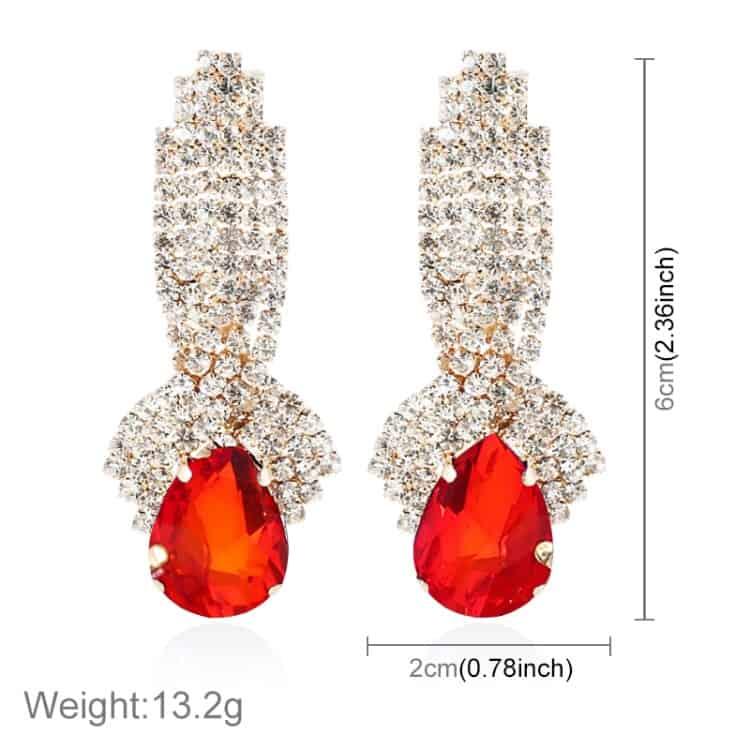 Las Vintage Luxury Diamond Shape Drop Long Earrings 1 Pair Red Blgt