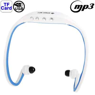 Sport MP3 WMA Music Player TF/ Micro SD Card Slot Wireless Headset Headphone Earphone (White + Blue) ...