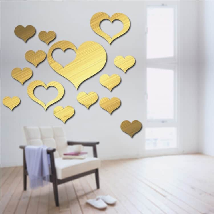 Love Shape Mirror Art Decor Wall Stickers Living Room Decoration Wall  Decoration Sets (Gold) ...