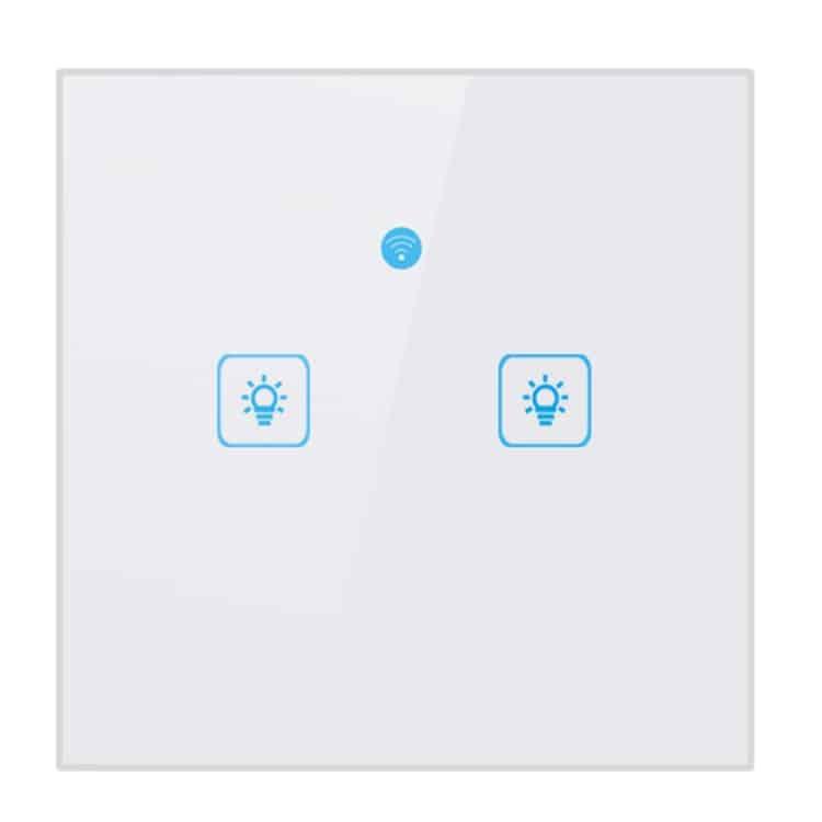 WS EU 02 EWeLink APP Touch Control 2A 2 Gangs 2 Ways Tempered Glass Panel  Smart Wall Switch AC 90V-250V EU Plug