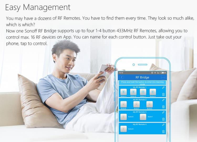 Sonoff RF Bridge WiFi 433MHz Replacement Home Automation - BLGT